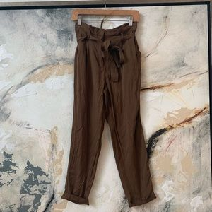 Brown high tie waisted trousers